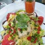 Cod on salad with tomatoes and basil gazpacho