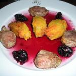 Pork filets with vegetable noisettes in prune sauce