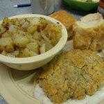 Chicken fried steak, homefries and homemade biscuits
