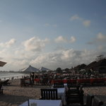 The restaurants set up on the beach at Jimbaran Bay