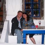 Romance In Santorini on the patio of Altana