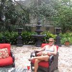 Enjoying the courtyard