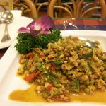 Minced Pork with chili and basil
