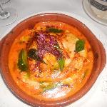 Raviolone Aperto - Terracotta baked open face raviolo, sea scallops & shrimp, zucchini segments,
