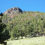 Eagle Cliff, located behind the cottages. You can hike to the top of the rock outcropping (go up