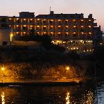 Hotel at night from just across the harbour.
