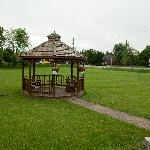Gazebo on a large well kept lawn
