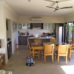 Dining and kitchen areas from living area