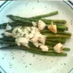 Fresh grilled asparagus with olive oil and parmesan topped with jumbo lump crab meat