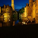 Nightime view of the canal in Brugge