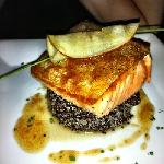 Perfectly crispy-skinned salmon on quinoa
