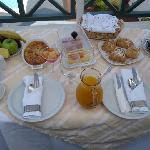 The delicious breakfast served on our balcony