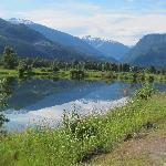 Reflections on the Columbia river in Revelstoke