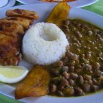 sea bass with rice, beans and fried banana