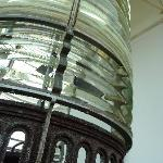 The light fresnel at the top of the Cana Island lighthouse.