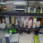 Here's the beauty counter with high-end, discounted products