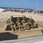 'The Simpson's sand sculpture on beach