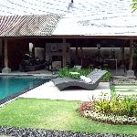 The pool and the living area from outside the bedroom