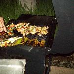 Seafood barbeque in our villa at night