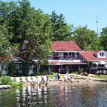 the main lodge and beach