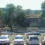 The view from our window of the parking lot and the lake.