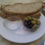 Bread, olives and salt