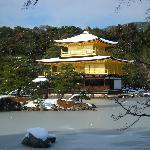 雪の金閣寺。池も凍ってる!
