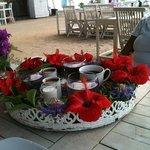Service tray full of flower