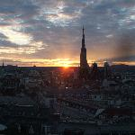 sunset over Vienna from the balcony