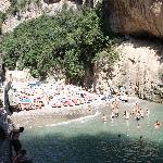 One of the many beaches along the Amalfi Coast