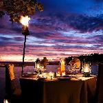 Romantic private deck dining at sundown