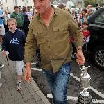 Darren Clarke the Open Champiom arrives at his favourite bar in the Bayview Hotel, immediately a