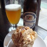 Hefeweizen with their signature cupcake: Sweet Revenge (peanut butter & chocolate ganache)