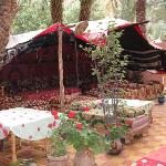 The back patio and tent