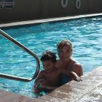 Me and my son at the pool