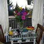 Garden flowers and wine tray upon our arival