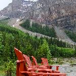 Chairs in front of Kicking Horse river