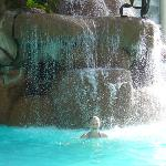 frog fountain in the pool