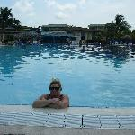 wife enjoying the pool