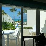 """view of beach from """"inside"""" dining room"""