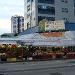 fruit stands across the street.