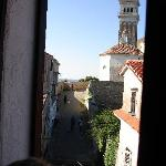 View out of room window to church steeple