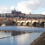 Hradcany and Charles bridge in Prague.