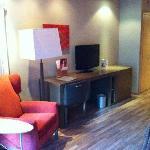 Chair, table, tv & minibar