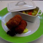 An example of the menu of the day: croquetas with a chicken vegetable soup