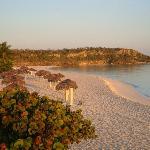 The beach at sunrise from the gazebo