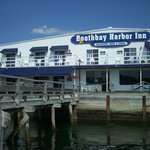 The restaurant is located on the harbor side of the Boothbay Harbor Inn
