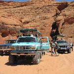Tour trucks that take you out to the canyon.