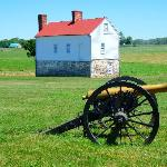 Confederate artillery position on Best Farm; visitor center is visible in the distance