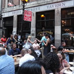 Dining in front of the Stone Street Tavern